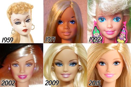 La trasformación del rostro de Barbie entre 1959 y 2015