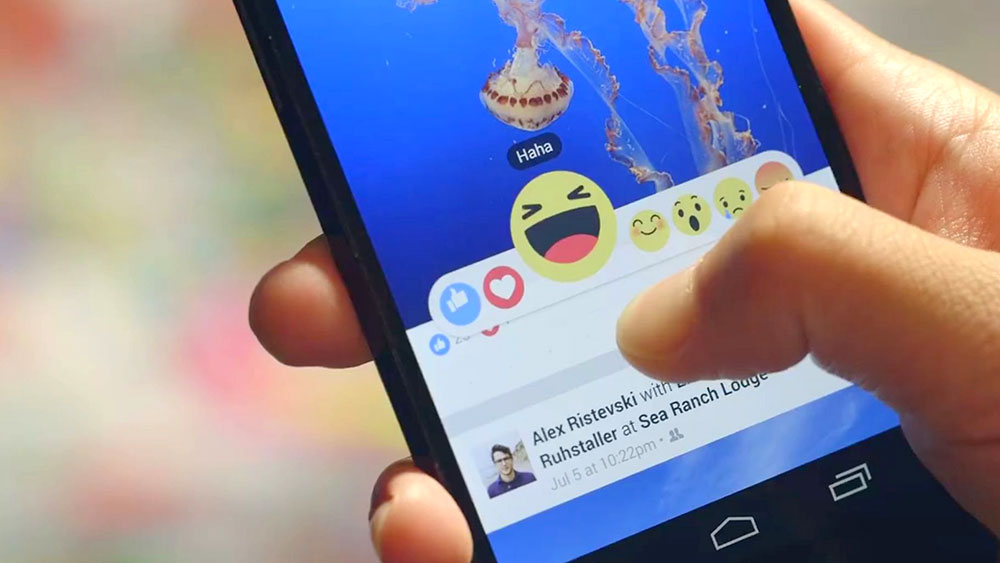 Facebook reactions: like, love, jaja, wow, sad y angry